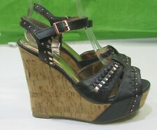 """New Lady Black 5""""High Wedge Heel 1.5""""platform Sexy Open Toe Ankle Straps Size 6"""