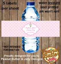 Personalised Pink Christening / Baptism WATER BOTTLE Sticker Labels - 5 Per Page