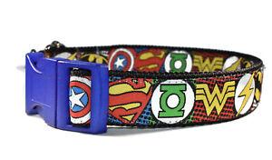 Embroidered Superhero Adjustable Handmade Dog Collar Boy Medium Large Bold