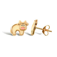 9CT YELLOW GOLD CHILDRENS COW ENAMELLED STUD EARRINGS Erin Rose Jewellery Co