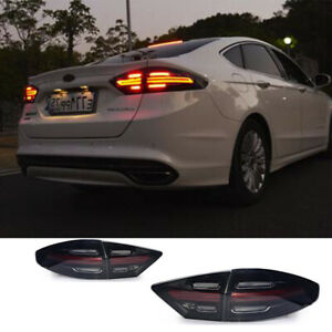 For Ford Fusion Tail Lights Assembly 2013-2016 Black Color All LED Rear Lamps