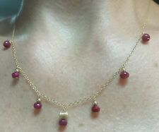 2cts Faceted Ruby 14k solid gold chain beads pendant 16 inch Necklace