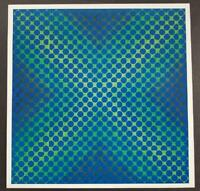 """Victor Vasarely """"Sirius"""" Mounted Offset Color Lithograph 1971"""