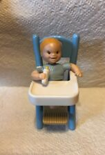 VTG FISHER PRICE Dollhouse LOVING FAMILY Twin Baby Boy W/Highchair ✔️