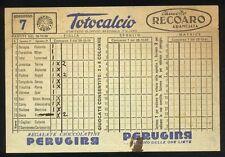 Schedina TOTOCALCIO n. 7 del 28 - 10 - 1956 - Pubblicità PERUGINA LAMBRETTA