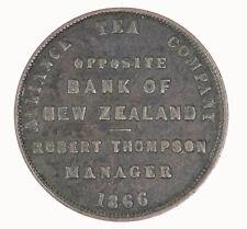New Zealand 1866 Alliance Tea Company Penny Token VF