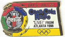 1996 ATLANTA OLYMPIC COCA COLA DAY PIN 5 FOR BOTTLE PUZZLE SET COCA COLA RADIO #