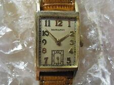 Hamilton BROCK Vintage 14K Gold Deco Wrist Watch 1951