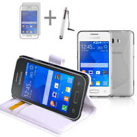 WHITE Wallet 4in1 Accessory Bundle Kit Case Cover For Samsung Galaxy Young 2