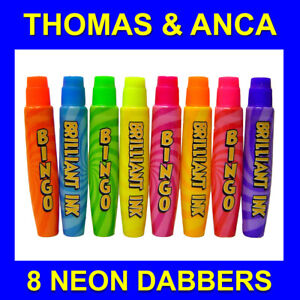 Bingo Dabbers 8 15ml Fluorescent Neon Ink Slimline Markers for Bingo Tickets