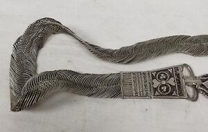 Antique Vintage Silver Belt Hearts Caucasian Decorative Unmarked Filigree