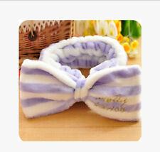 Spa Bath Shower Make up Wash Face Cosmetic Headband Hair Band Velvet Hairband Pink White Stripe
