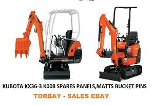 Kubota KX36-3 K008 Spares parts Side Panels Matts Pins Bonnet Hinge Genuine NEW