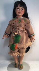 """Vintage Ceramic Indian Native American Doll With Stand 22"""" Inches Tall Exqu"""