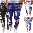 Men US Flag Jogging Sports Training Long Sweat Pants Bottom Casual Gym Trousers