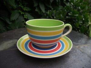 Large Jumbo Whittard of Chelsea Hand Painted Rainbow Breakfast Cup & Saucer