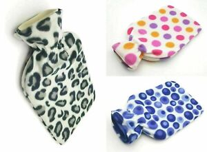 2L Luxury Fleece Cover Hot Water Bottle Natural Rubber Winter Warm Great Gift