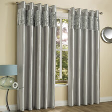 CRUSHED VELVET FAUX SILK PAIR OF EYELET LINED CURTAINS CREAM SILVER GREY BLACK