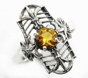 1CT Citrine 925 Solid Sterling Silver Fleur-De-Lis Ring Jewelry Sz 6, FL1