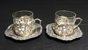 Vintage Raimond Japan Silver Plate & Glass Espresso Cup and Saucer Set Lot of 2