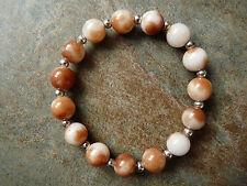 Coffee & White Quartz Bead Beaded Bracelet - Genuine Gemstone - Handmade