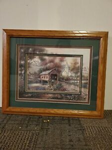 Carl Valente signed RAZZBERRY CREEK CROSSING 23x 19 Print. Matted And Framed 3d