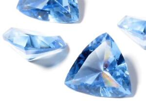 Lot (4) Large Czech vintage triangle faceted blue glass rhinestones 22mm