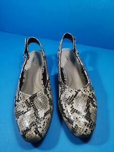 Clarks Ladies Taupe Snake Skin Effect Sling Back Shoes size uk 6 D eur 39.5