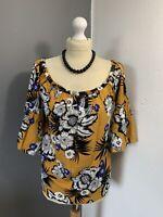 Women's Size 16 ☀️ Gorgeous Summer Papaya Floral Flutter Sleeve Blouse Top