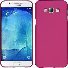 Coque Rigide Samsung Galaxy A8 (2015) - gommée rose chaud + films de protection