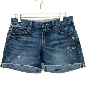 Gap boyfriend embroidered denim cuffed shorts size 25 0
