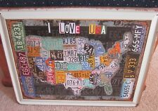 USA MAP/LICENCE PLATES/ I LOVE USA,  LARGE METAL SIGN 40X30cm, 16X12 INCH, DINER