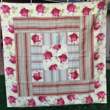 Fabulous Antique Vtg FRENCH QUILT TABLE CLOTH Patchwork 19th ROSES/TICKING/LINEN