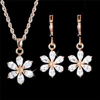 Women Jewelry Set Flower Crystal 18k Gold Plated Chain Necklace Earring Drop Set