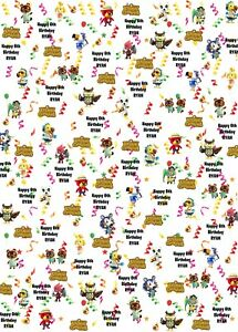 Personalised ANIMAL CROSSING Birthday Wrapping Paper.