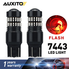 2PC AUXITO 7443 7440 T20 Brake Stop Light Red Flash Strobe Blinking 48 LED Bulb