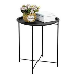 Finnhomy Small Round Side End Table, Sofa Table, Tray Side Table, Snack Table,