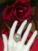 Judith Ripka 925 Sterling Silver Heart Shaped Mabe Pearl & CZ Ring Size 6