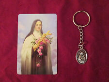 St. Therese medal on a (Split Key Ring with chain)key chain and Holy card