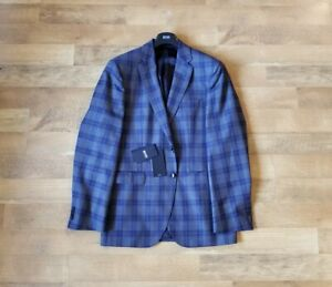 "HUGO BOSS 42 L ""Phoenix"" 100% wool sport coat blazer blue grey plaid NEW $595"