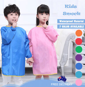 Teen Kids Waterproof Art Smock Feeding Bib Apron  7 options 5-14y