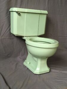 Vtg Mid Century Pale Jadeite Green Porcelain Toilet Eljer Old WE SHIP 385-20E