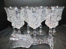 Stunning 8 Lead Crystal Goblet Diamond Cut Stem Pinwheel Fan & Starburst Design