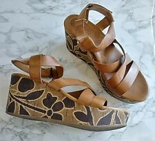 NAYA Nalani Heel Sandals Womens 7 M Brown  Leather Floral Cork Wedge Platform