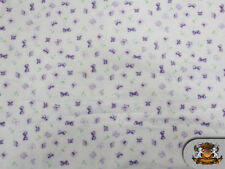 "Cotton Flannel BUTTERFLY PURPLE Fabric / 45"" Wide / Sold by the Yard"