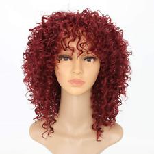 Pelucas Rojo para Mujeres Negras corto Kinky Rulos Pelucas Peluca Pelo Sintético Completo Natural