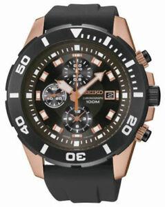 Seiko SNDE04 SNDE04P1 Mens Watch Sports Chronograph WR100m BLACK NEW RRP $595.00