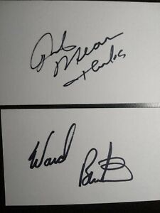 RICK MEARS & WARD BURTON 2 Hand Signed 3X5 INDEX CARD 'S - RACE CAR LEGENDS