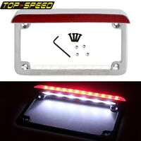 "Motorcycle 7"" x 4"" Rear LED License Plate Frame Brake Stop Tail Light For Harley"