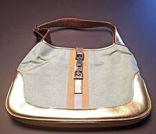 Gucci Leather Canvas Gold Copper Blue Metallic Clasp Closure Hobo Purse Handbag
